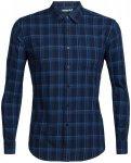 Icebreaker Compass Flannel LS Shirt Men midnight navy/sea blue/plaid S 2018 Spor