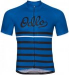 Odlo Fujin Print Stand-Up Collar SS Full Zip Shirt Men energy blue-black-retro X