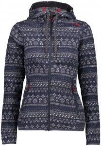 CMP Woman Fix Hood Jacket Printed Knitted 3H20376 Damen Strickfleecejacke