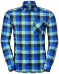 Odlo Men Shirt L/S Nikko Check energy blue - diving navy - nile blue - check L