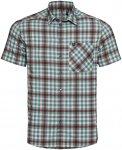 Odlo Men Shirt S/S Nikko Check snow white - arctic - chili oil - check L