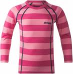 Bergans Fjellrapp Kids Shirt Pink-Gestreift, Kinder Merino Oberteil, 104