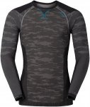 Odlo Shirt L/S Crew Neck Blackcomb Evolution Warm Blau-Schwarz-Grau, Herren Ober