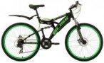 KS Cycling Fully Mountainbike, 26 Zoll, schwarz-grün, 21 Gang Kettenschaltung,