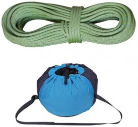 Edelrid Anniversary Rope Duotec 9.7mm Kletterseil mit Seilsack Caddy, 60m, lime