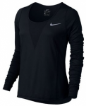 NIKE Damen Top ZNL CL RELAY TOP LS, Größe 36 in Schwarz