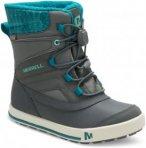 Merrell Snow Bank 2.0 Waterproof Kinderschuh Winterschuh grau,grey/turq 38, Gr.