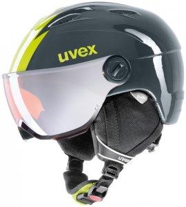 Uvex Kinder Skihelm Junior Visor Pro Titanium-lime