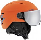 Cébé Fireball Junior Skihelm inkl. Visier matt orange blue/silver flash mirror