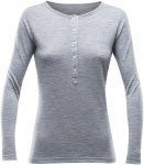 Devold 150 Hessa Button Shirt Women - Merinoshirt - grey melange - Gr.S