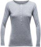 Devold 150 Hessa Button Shirt Women - Merinoshirt - grey melange - Gr.S