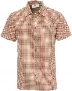 Fjällräven Svante Seersucker Shirt SS Männer Gr. M - Outdoor Hemd - oliv-dunkelgrün|rotbraun