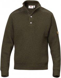 Fjällräven Värmland T-Neck Sweater Männer Gr. S - Wollpullover - oliv-dunkelgrün