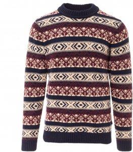 Fjällräven Övik Folk Knit Sweater Männer Gr. XL - Wollpullover - rotbraun blau