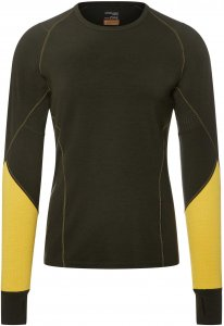 Icebreaker Winter Zone LS Crewe Männer Gr. XXL - Funktionsshirt - oliv-dunkelgrün|gelb