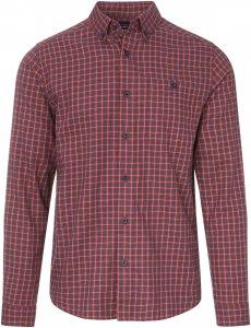 Patagonia L/S Vjosa River Pima Cotton Shirt Männer Gr. M - Outdoor Hemd - rot blau