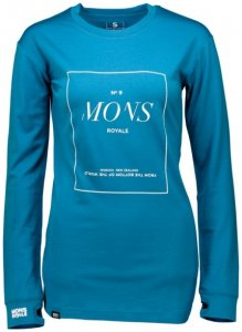 Mons Royale - Women's Boyfriend L/S Stack Gr M blau