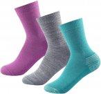 Devold Daily Medium KID Sock 3-Pack Grau / Grün / Lila   Größe EU 28 - EU 30