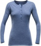 Devold Hessa Woman Button Shirt Blau, Female Merino Langarm-Shirt, L