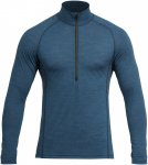 Devold Running MAN Zip Neck Blau, Male Merino Langarm-Shirt, M