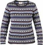 Fjällräven Womens övik Folk Knit Sweater Blau-Gestreift, L, Damen Freizeitpul