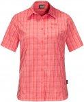 Jack Wolfskin W Centaura Shirt Kariert / Rot | Damen Kurzarm-Shirt