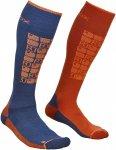 Ortovox M Merino Socks Ski Compression (Modell Winter 2020) Blau / Orange   Grö