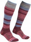 Ortovox W Merino Socks All Mountain Long Warm Gestreift / Rot | Größe 39 - 41