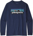 Patagonia Boys Long-Sleeved Graphic Organic T-Shirt Blau | Größe XL | Herren F