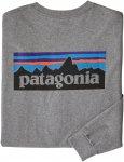 Patagonia M Long-Sleeved P-6 Logo Responsibili-Tee Grau | Größe XL | Herren T-