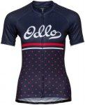 Odlo Fujin Print Stand-Up Collar SS Full Zip Shirt Women diving navy-fiery red-r