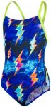 speedo Strikeflash Placement Digital Crossback Swimsuit Girls Black/Lime Punch/V