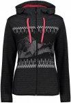 CMP Damen Printed Fix Hoodie Jacke (Größe XL, Schwarz) | Fleecejacken > Damen