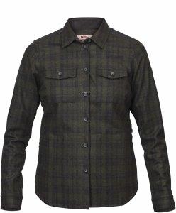 Fjäll Räven Övik Re-Wool Shirt LS W-Dark Grey-Olive-S - Gr. S