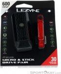 Lezyne Micro Drive 600 XL/ Stick Drive Fahrradlicht Set-Schwarz-One Size