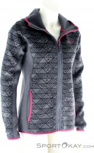 Salewa Puez Printed Hoody Fleece Damen Outdoorsweater-Grau-S