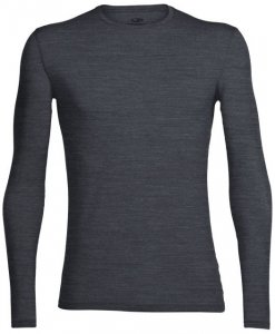 Icebreaker Mens Anatomica LS Crewe Herren (Anthrazit XXL INT ) | Bekleidung Shirts Merinoshirts