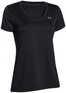 Under Armour Tech SS V-Neck Solid Damen (Schwarz M INT ) | Bekleidung Shirts Funktionsshirts