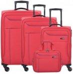 Travelite Solaris 4-Rollen Kofferset mit Flugumhänger 4 tlg. rot blau, Gr. XL (