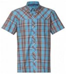 Bergans Marstein Shirt Short Sleeves, bright sea blue/maroon/pumpkin, Größe M