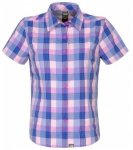 The North Face Womens Short Sleeve Boulder Penelope Woven, azalea pink plaid H7P